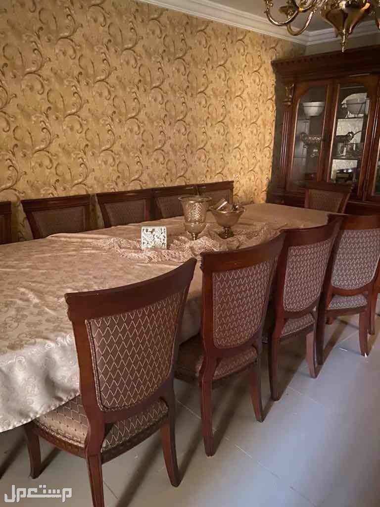 طقم طاولة سفرة فاخر 12 مقاعد مع سرفيس وبوفية من مفروشات العمر