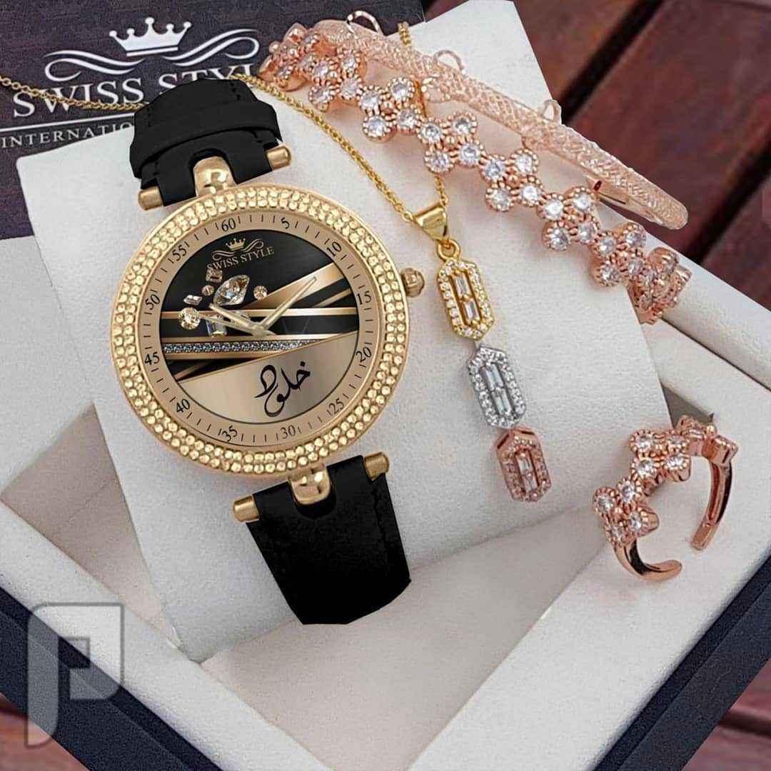 ساعة نسائية انيقة وجذبه 😍 مميز مع تصميم الاسم داخل الساعه حسب الطلب