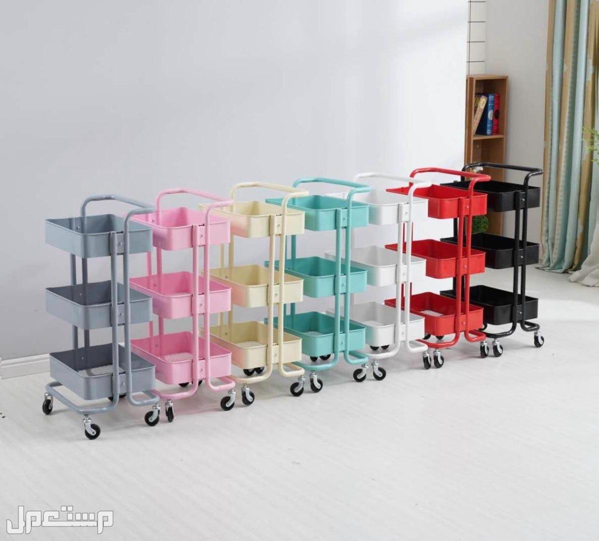 تخزين متعدد الأغراض بتصميم عربة مكون من 3 طبقات ومزود بعجلات