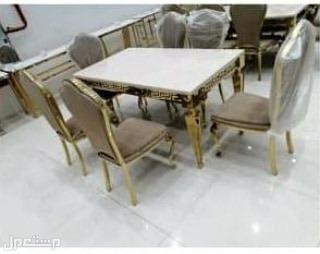 طاولة طعام رخام وكروم فخمة جدا خامة ممتازة وجودة عالية