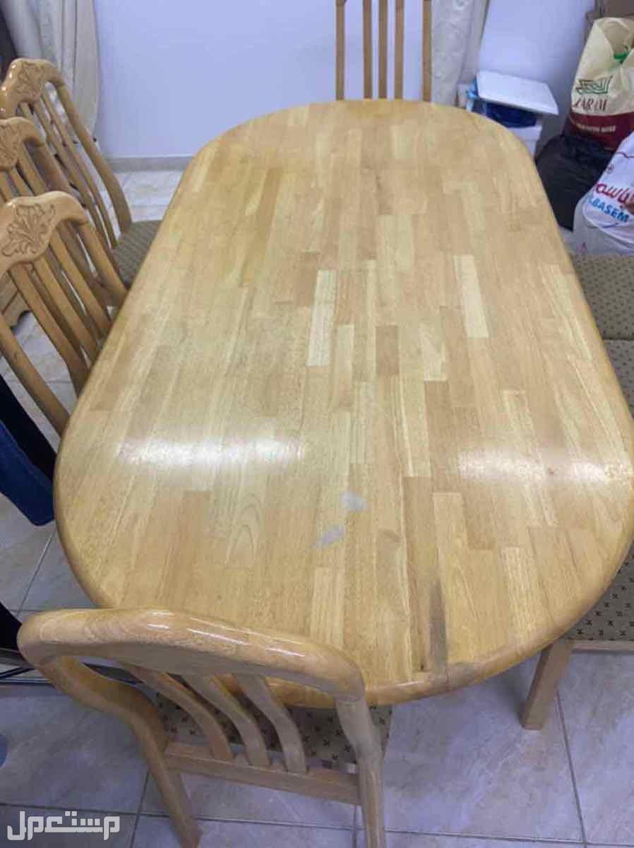طاولة طعام كبيرة خشب اصلي مع بوفيه