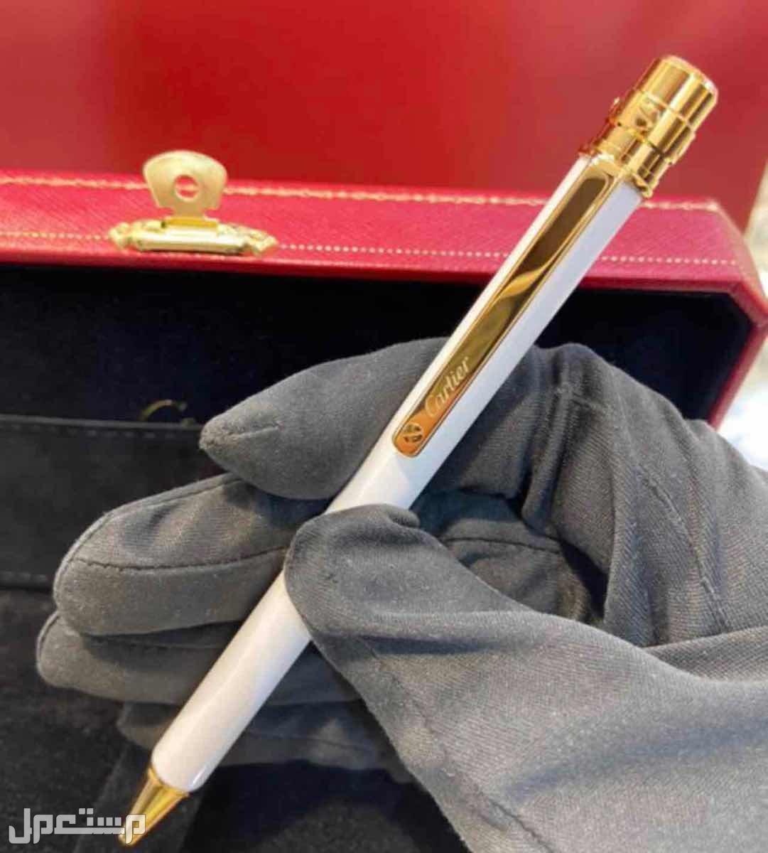 SANTOS DE CARTIER BALLPOINT PEN  SMALL , WHITE , GOLD-FINISH