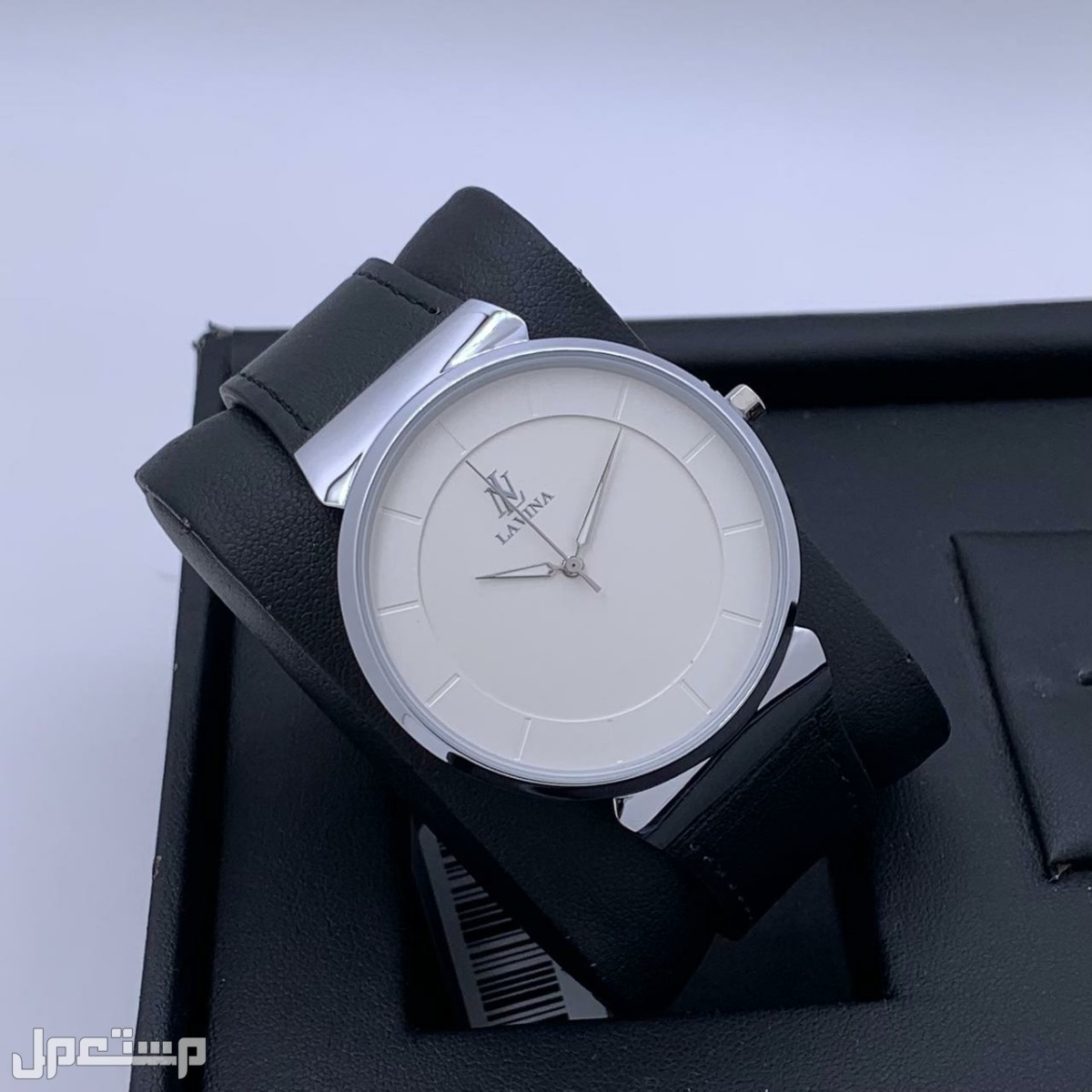 ساعة رجالي جلد فاخر فاخرة ماركة لافينا ، ضمان سنة