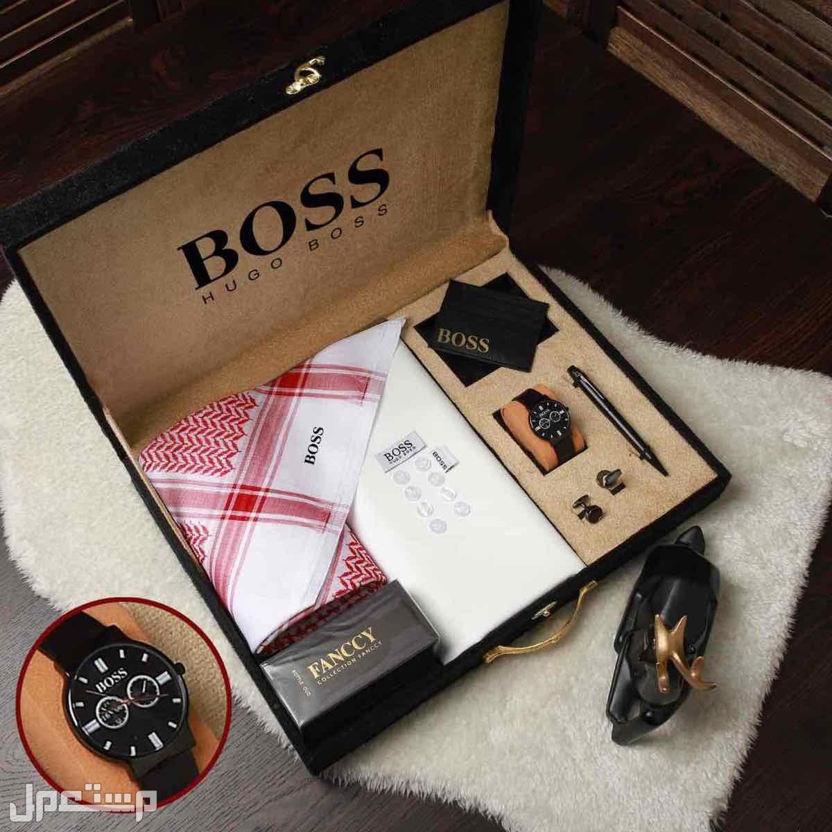 بوكس هدايا رجالي فخمه بوس مونت بلانك جفنشي قماش شماغ ساعه قلم كبك صندل مبخر