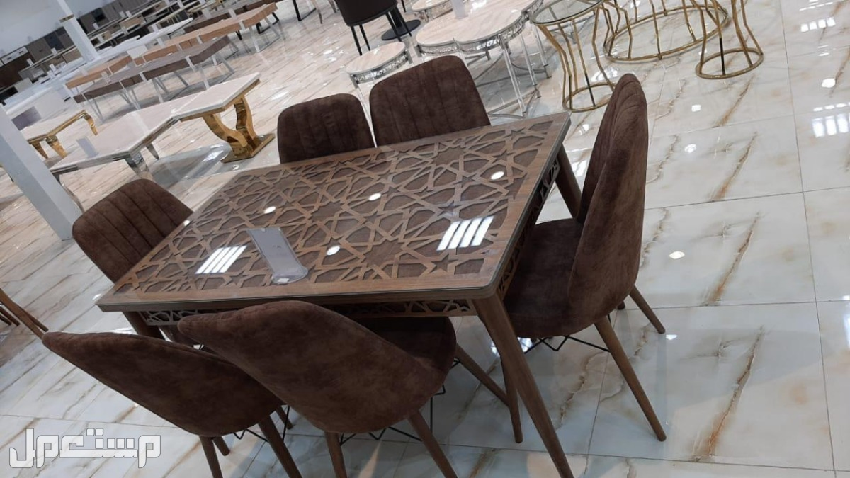 طاولة طعام 6 كرسي بألوان مميزة