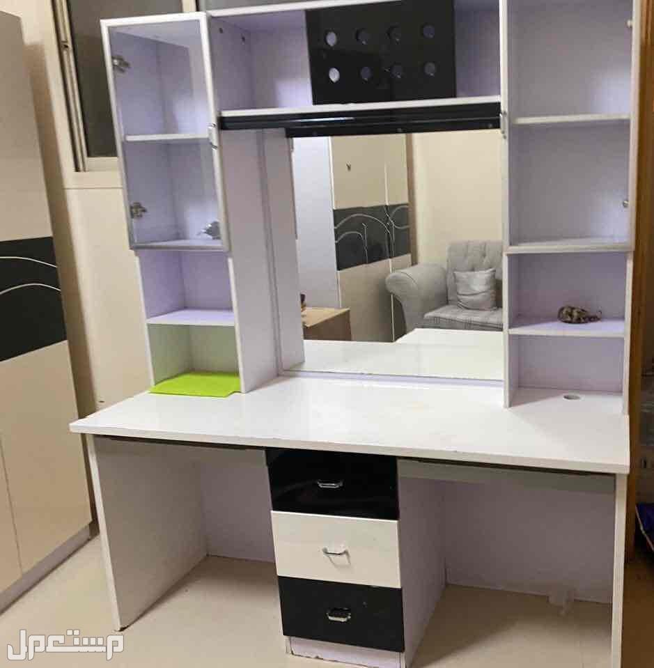 طاولة تسريحة  بمرايا- ابيض في اسود - 3 ادراج- تصلح مكتب لفردين للدراسة