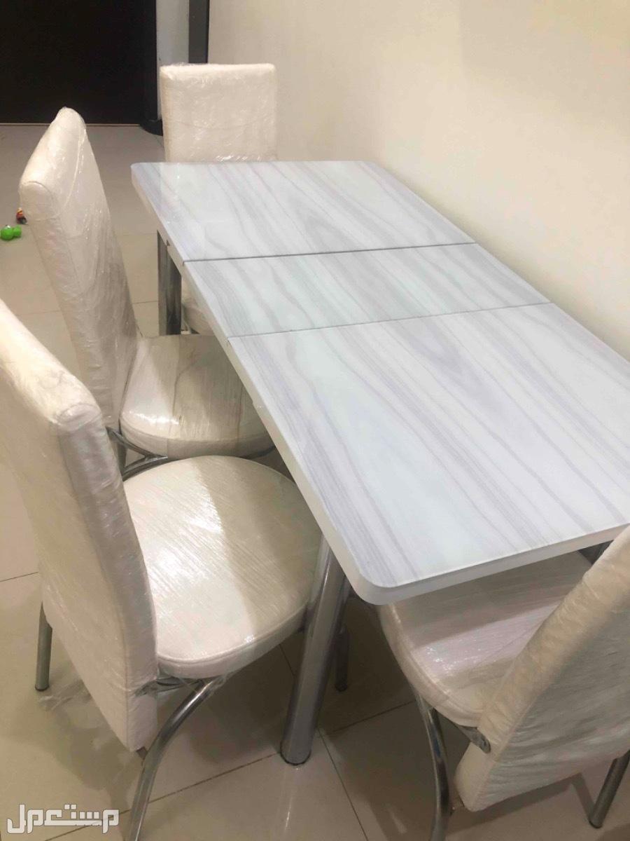 طاولة سفرة 4 كراسي جلد