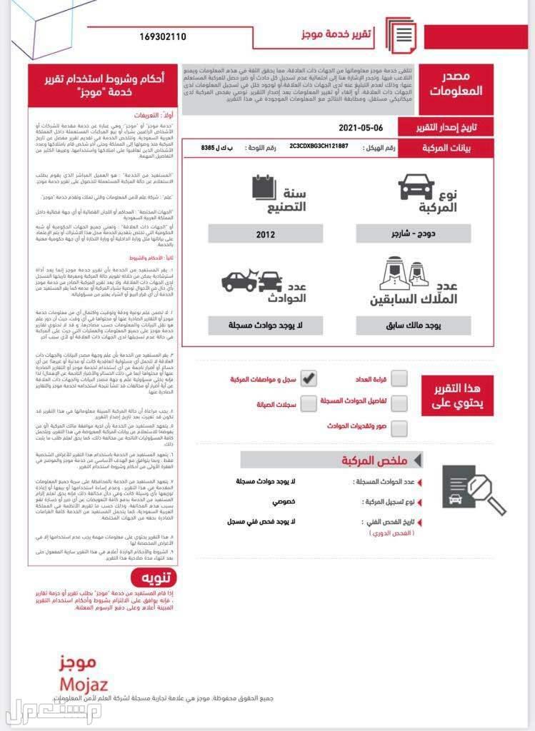 دودج تشارجر 2012 مستعملة للبيع تقرير موجز