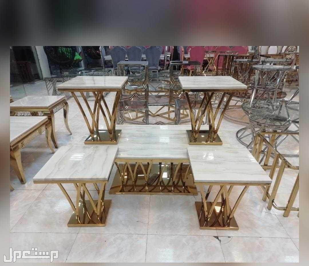 طاولات رخام استيل ذهبي 5قطع