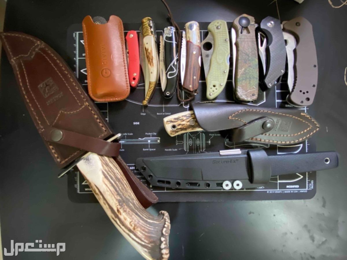 سكاكين و مطويات مجموع السكاكين 10 و ليس 12  الحمرا الصغيرة و اللي جنبها بسكينة من اليمين السودا