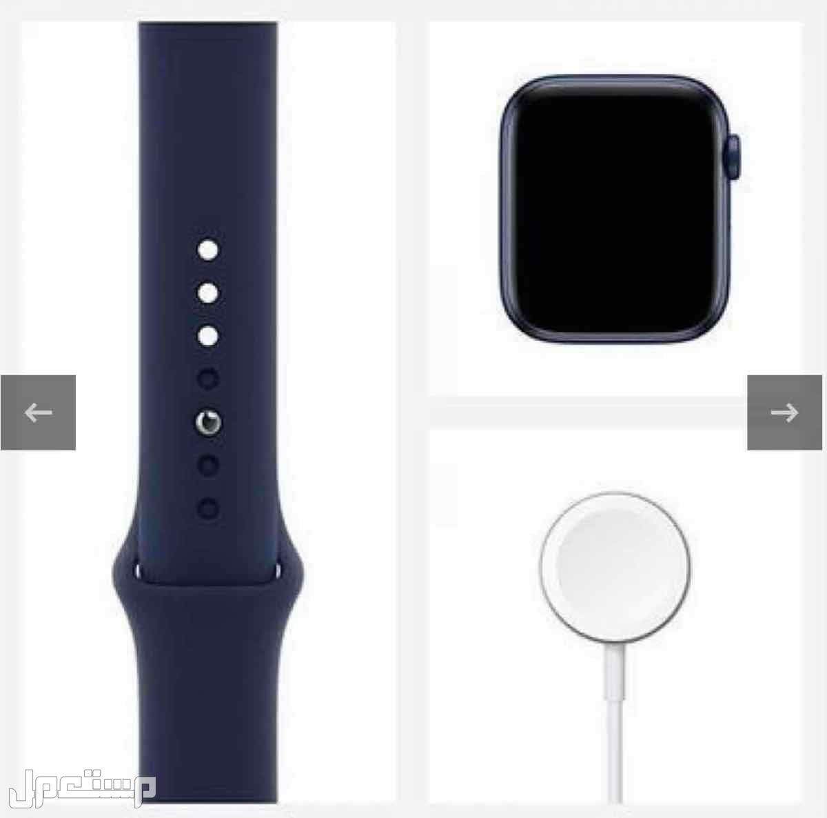 ساعة ابل الإصدار 6، مقاس 44 ملم، GPS، إطار أزرق، سوار أزرق غامق أبل