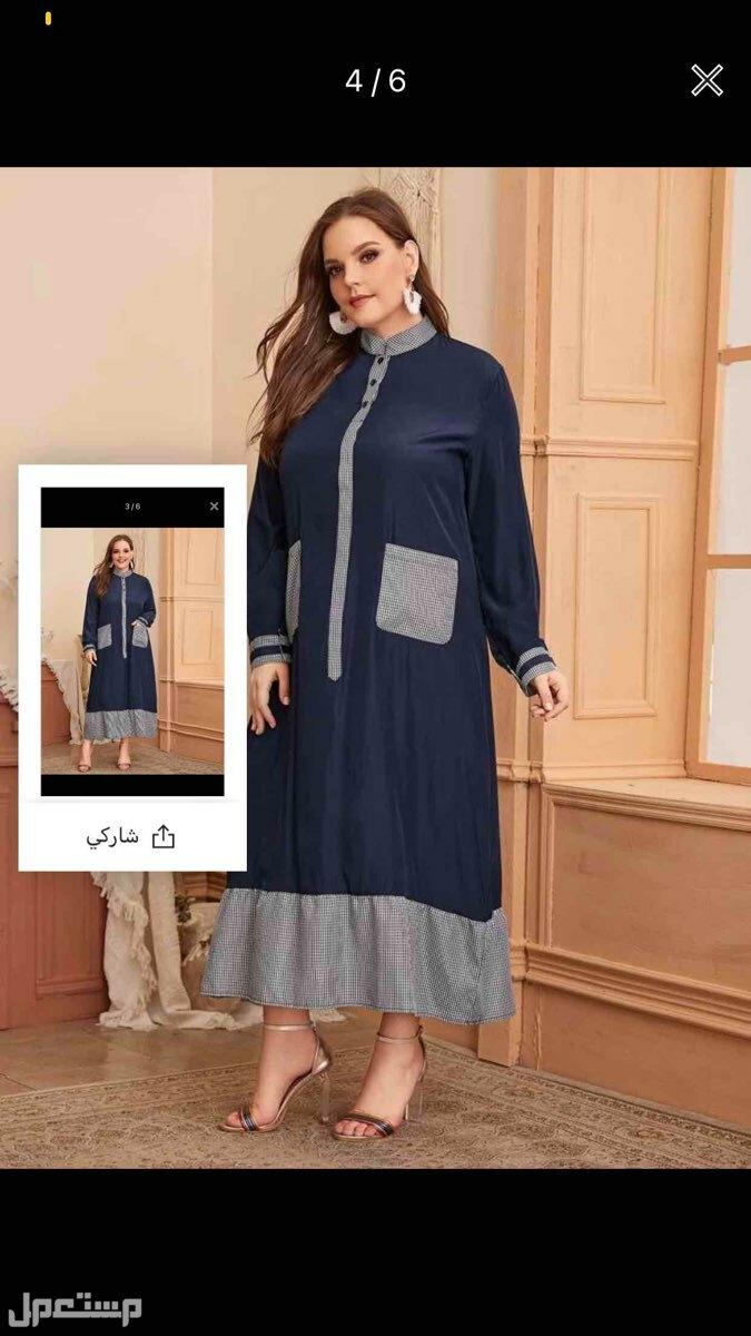 فستان فستان مقاس كبير بنصف فتحة عنق بأزرار مربعات ملون متباين4XL