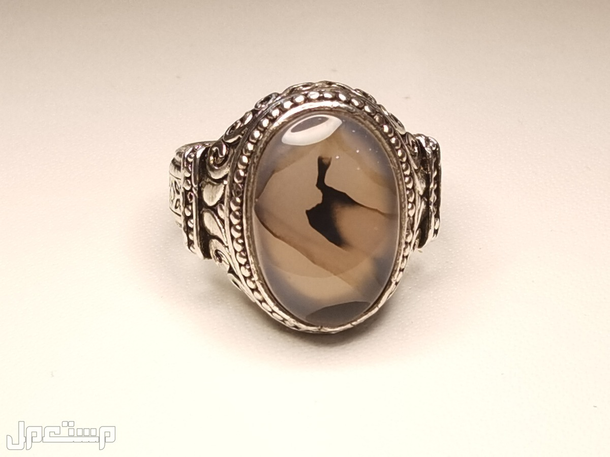 خاتم فضة 925 عقيق يمني مصور