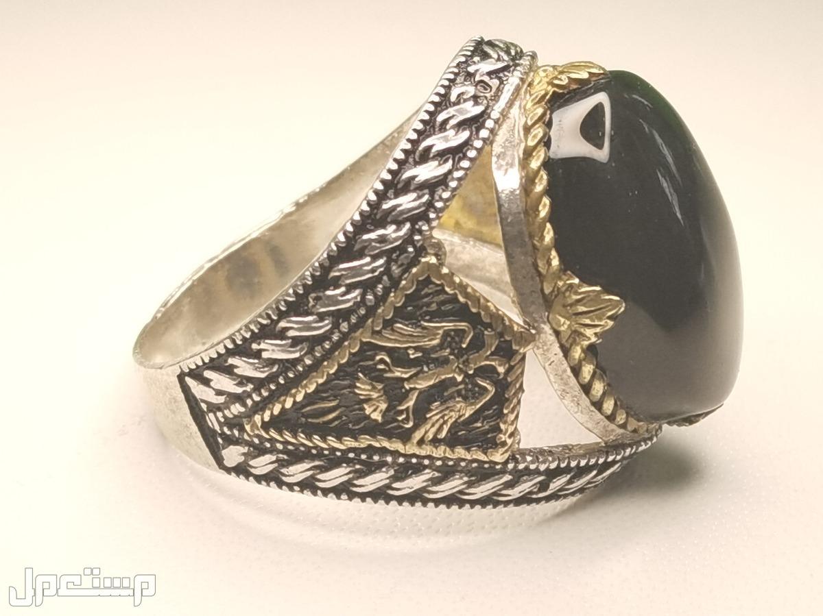 خاتم فضة 925 عقيق يمني كبدي