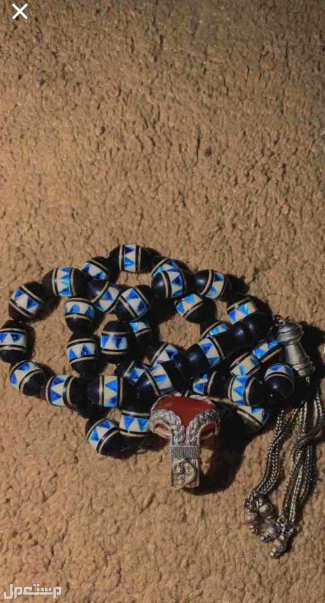 خاتم عقيق يمني مع سبحة فضة