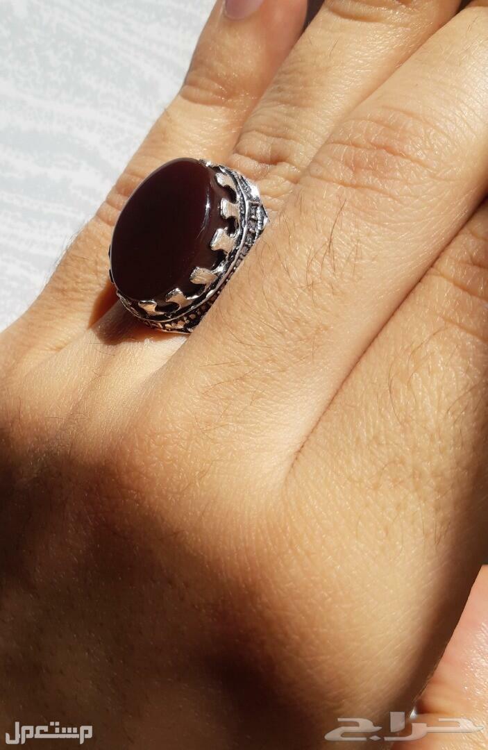 للبيع خاتم عقيق كبدي يماني صافي