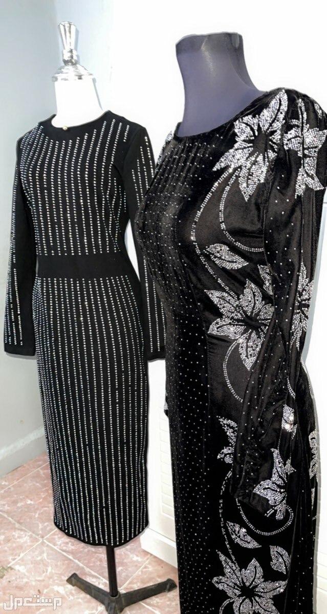 الاحساء /المبرز /الحزم الشمالي للايجار فستان سهرة مخملي خفيف طويل  أسود لبسه اولى