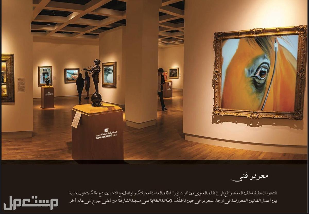 تملك في افضل مواقع الشارقة في قلب الخدمات في برج ارت للفنون معرض لوحات فنية لافضل الرسامين بالدولة