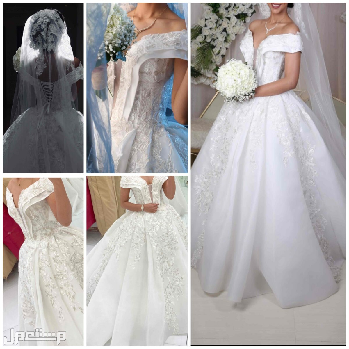 فستان عروس  استخدام 5 ساعات فقط الفستان