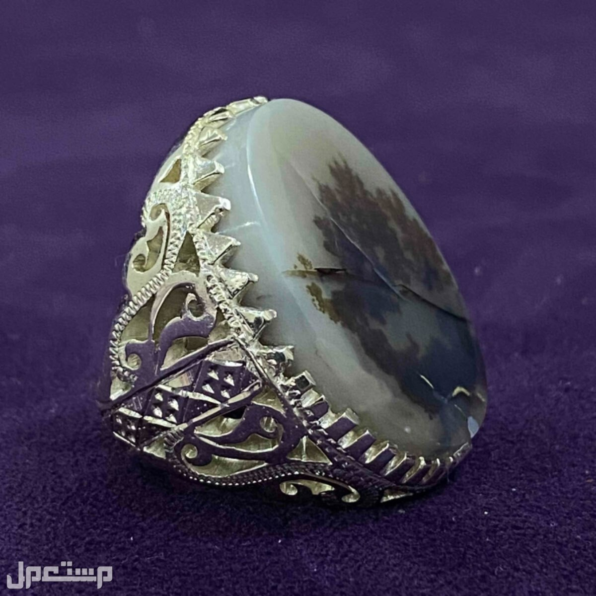 خاتم عقيق شجري راهي جدا حجر طبيعي