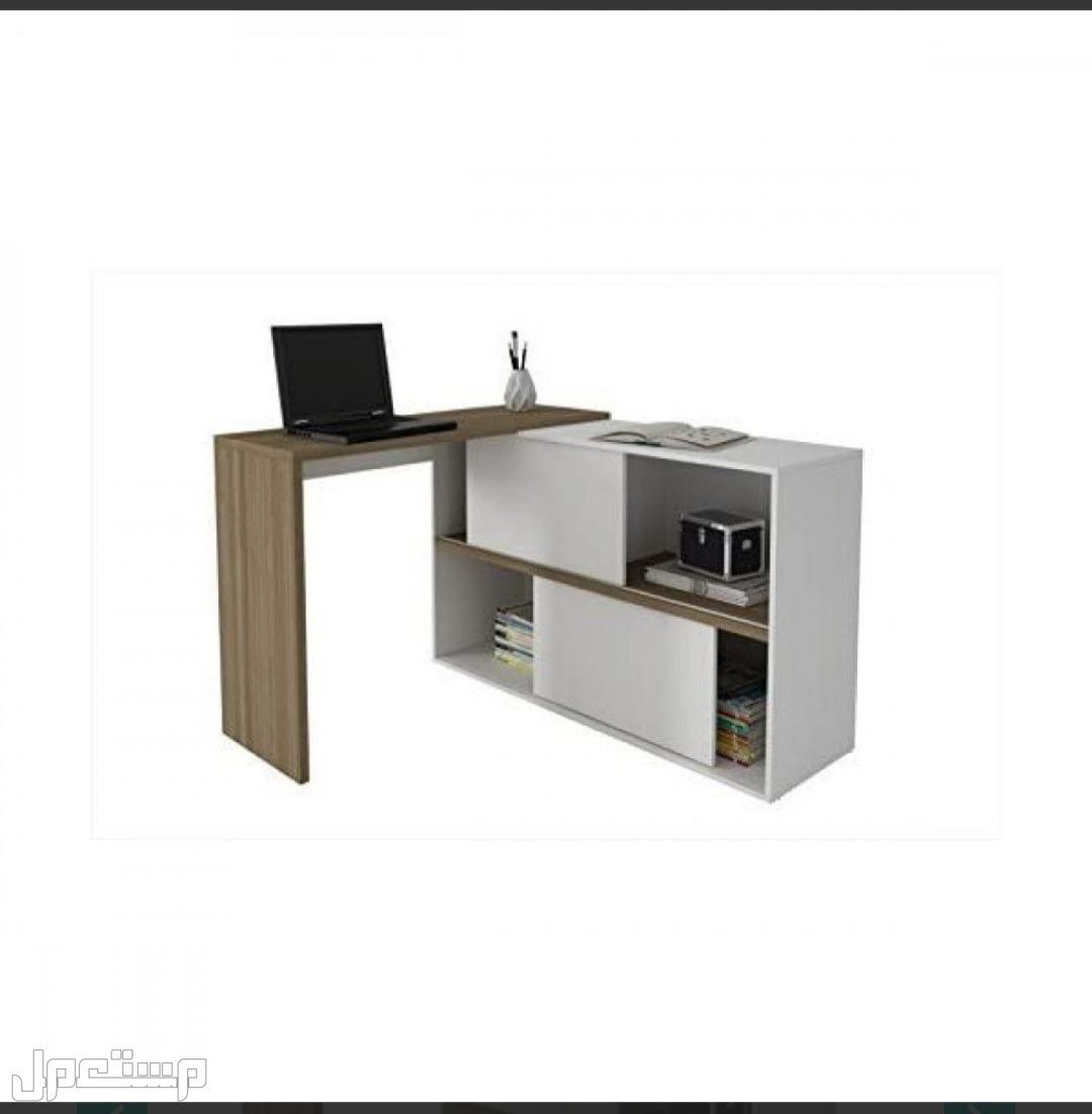 مكتب حديث للكمبيوتر مزود بفتحتين للتخزين