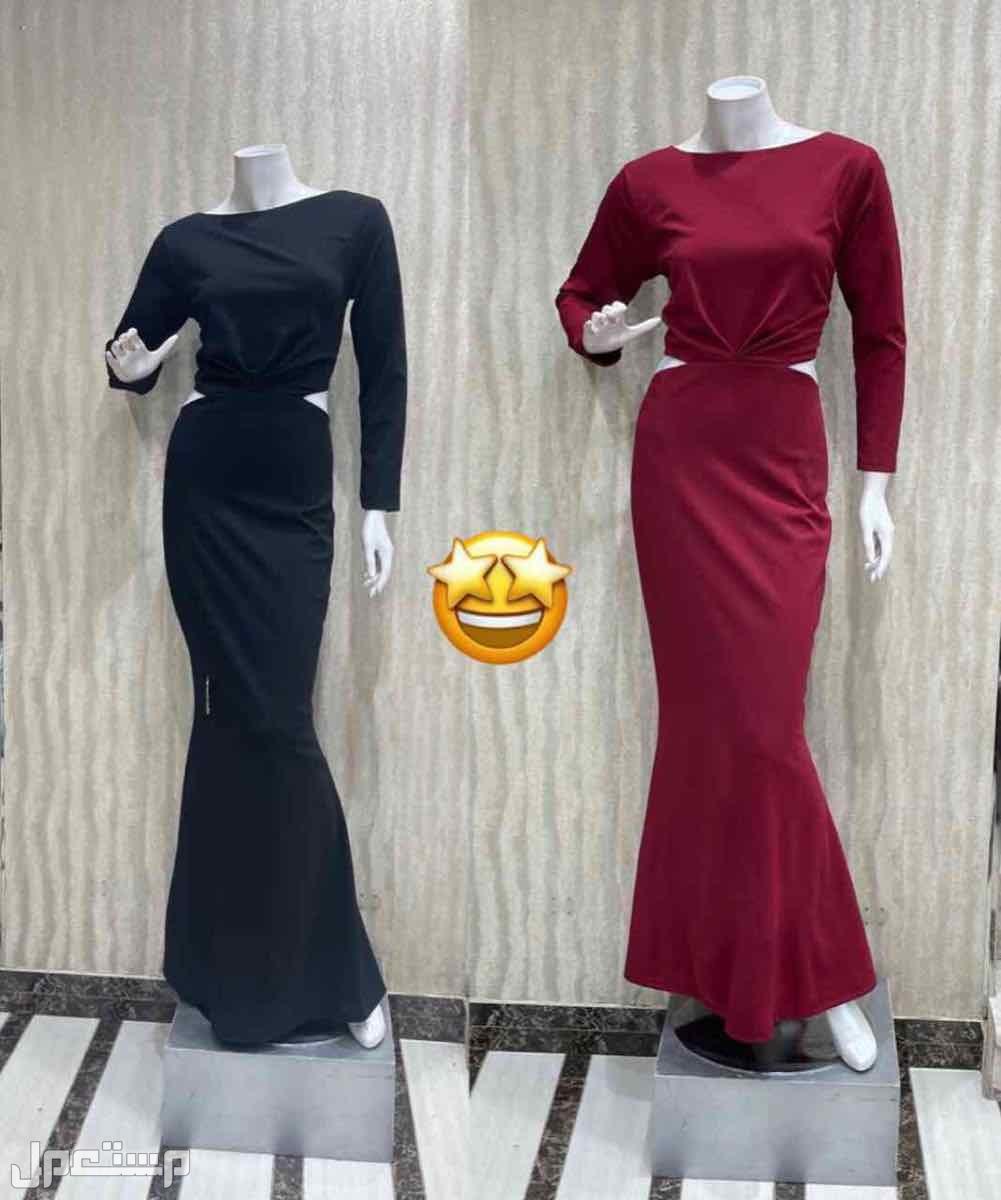 فستان نسائي بلونين احمر و اسود