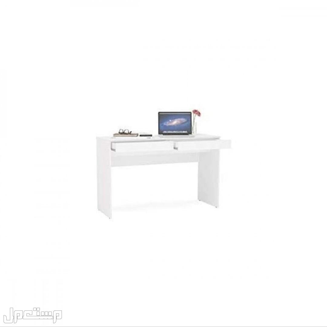 مكتب خشبي كبير ابيض مع درجين