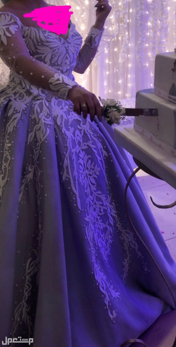بيع فساتين زواجات نظيفه فستان شبكة ويلبس لزواج ايضا بطرحة فرنسي  اللون رمادي فاتح جدددا وابيض